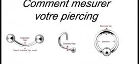 Mesurer un piercing diamètre, épaisseur, longueur de la tige, boule, pointe