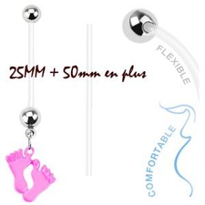 piercing nombril grossesse avec pied rose