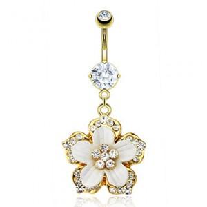 piercing nombril pendentif fleur
