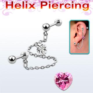 piercing hélix avec coeur rose