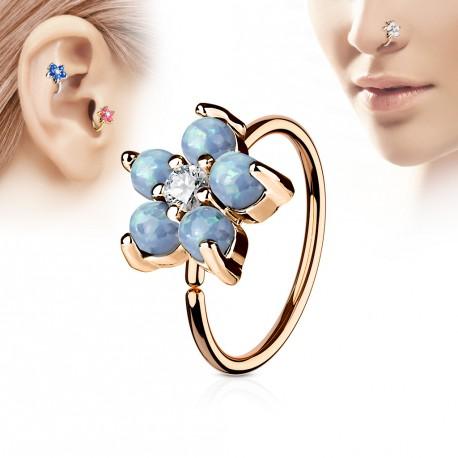 Piercing Anneau Or Rose Tragus Nez Helix 8 X 08mm Et Une Fleur Bleu
